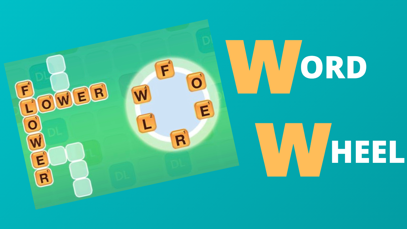 "Text: Word Wheel. Picture of gameboard with words ""flower"" and ""lower"" on the board along with a few blank spaces for other words. Picture of word wheel with letters ""F"", ""O"", ""E"", ""R"", ""L"", ""W"" placed in a circle on the wheel."