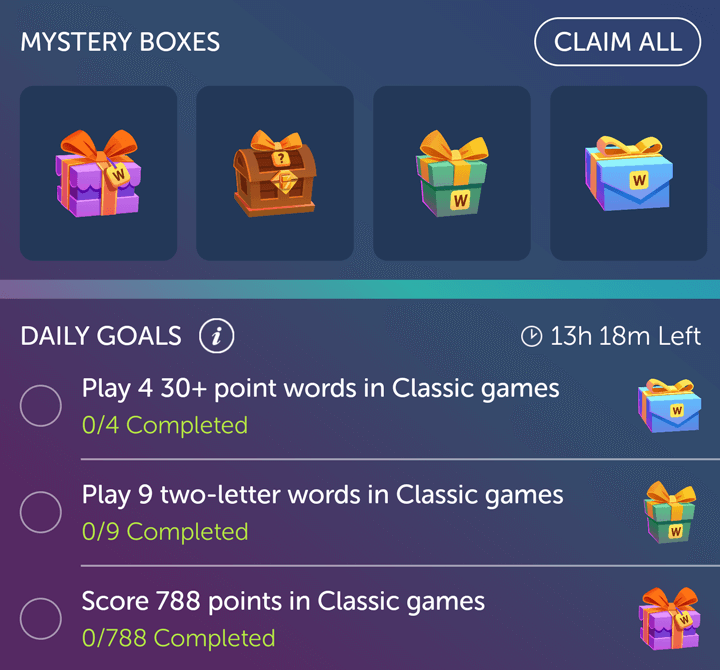 Mystery Boxes screenshot in Words With Friends