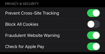 Safari settings Privacy & Security section