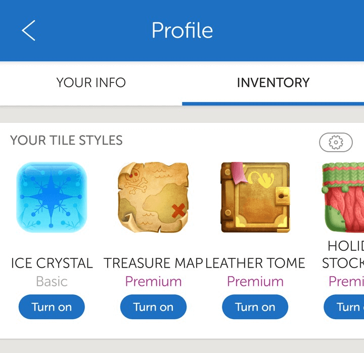 Tile Styles Inventory page in Words With Friends